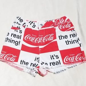 Pants - Authentic Coca Cola Coke Print High Waist Denim S